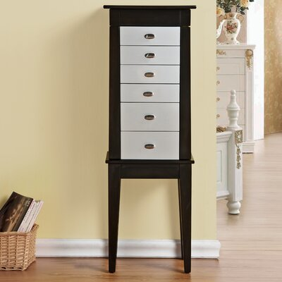 Terence 6 Drawer Jewelry Armoire with Mirror Finish: Silver