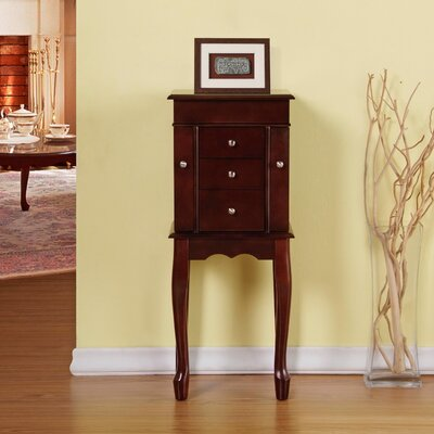 Cathy 3 Drawer Jewelry Armoire with Mirror Finish: Cherry