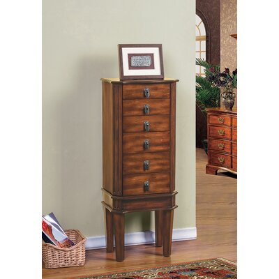 5 Drawer Jewelry Armoire with Flip Top Mirror Finish: Coffee
