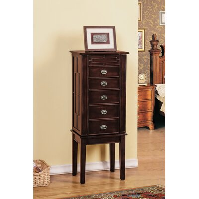 5 Drawer Jewelry Armoire with Flip Top Mirror