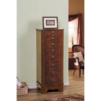 7 Drawer Jewelry Armoire with Flip Top Mirror Finish: Coffee