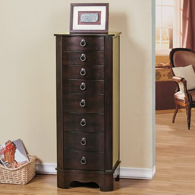7 Drawer Jewelry Armoire with Flip Top Mirror Finish: Brown