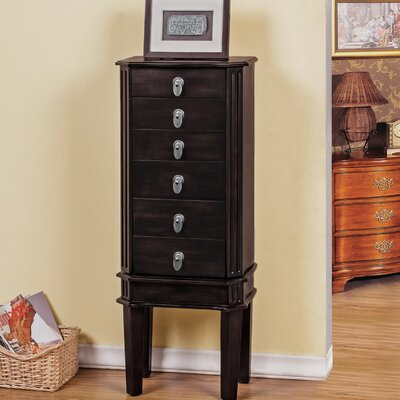 5 Drawer Jewelry Armoire with Flip Top Mirror Color: Brown