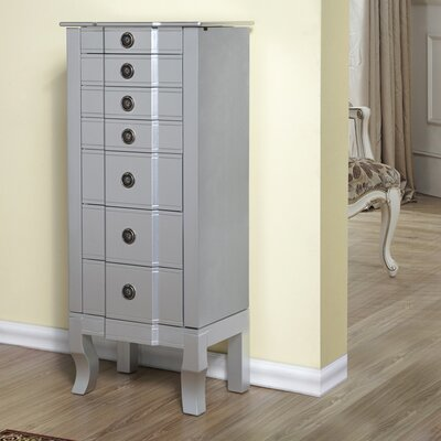 6 Drawer Jewelry Armoire Finish: Silver