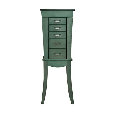 5 Drawer Jewelry Armoire- Sea Green