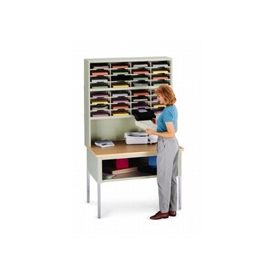 32 Pocket Sorter Size: 47.13 H x 48 W x 15.75 D, Color: Grey