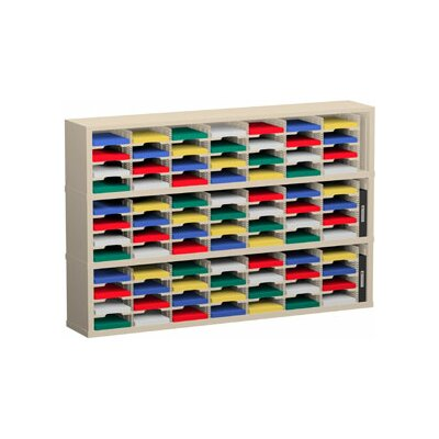 87 Pocket Mail Sorter Size: 47.13 H x 72 W x 15.75 D, Color: Putty