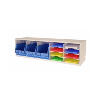 Mail Sorter with 3 Removable Bins and 8 Adjustable Sorting Pockets Color: Putty