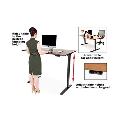 Height Adjustable Training Table with Cable Management Size: 23.5 - 49.5 H x 60 W x 30 D