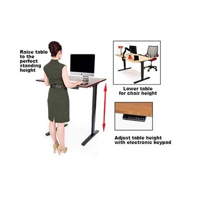 Height Adjustable Training Table with Cable Management Size: 23.5 - 49.5 H x 48 W x 30 D