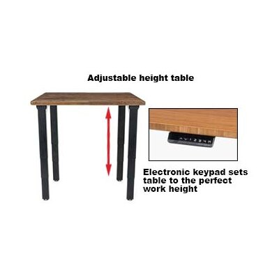 Height Adjustable Training Table with Cable Management Size: 25 - 52 H x 30 W x 30 D