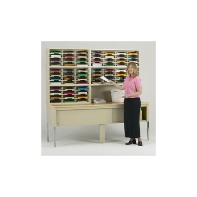 68 Compartment Mailroom Organizer Color: Grey