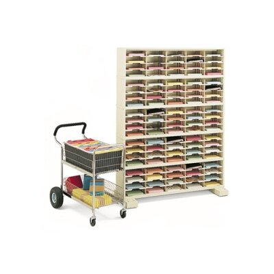 100 Pocket Mail Sorter with Caster Base Color: Grey