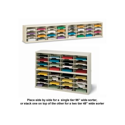 32 Pocket Mail Sorter Size: 16.38 H x 96 W x 15.75 D, Color: Grey