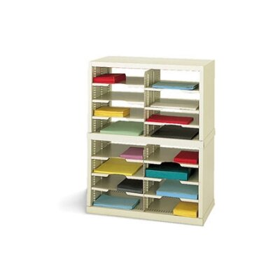 16 Pocket Open-Back Double Mail Sorter Color: Grey