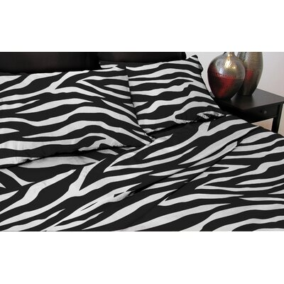 Zebra 110 Thread Count Satin Sheet Set Size: King