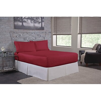 Solid 300 Thread Count Deep-Pocket Sheet Set Size: Full, Color: Burgundy
