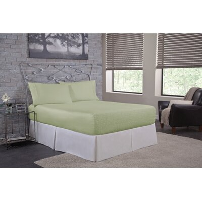 Solid 300 Thread Count Deep-Pocket Sheet Set Size: Full, Color: Sage