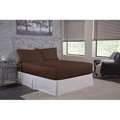 Solid 300 Thread Count Deep-Pocket Sheet Set Size: Twin, Color: Chocolate