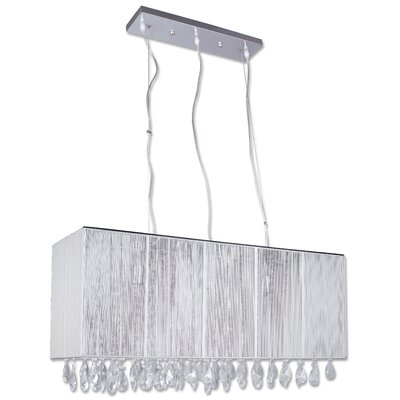 Portofino 3-Light Crystal Kitchen Island Pendant Shade Color: White