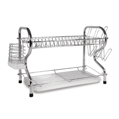 16 2 Level Dish Rack with Rubberized Feet