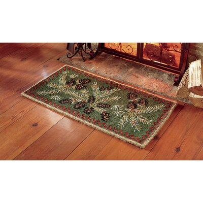 Hooked Wool Green Area Rug