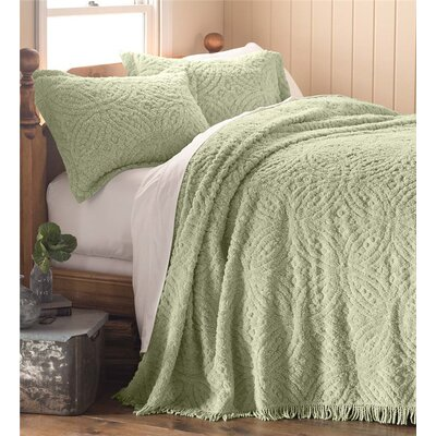 Wedding Ring Tufted Chenille King Bedspread Color: Sage
