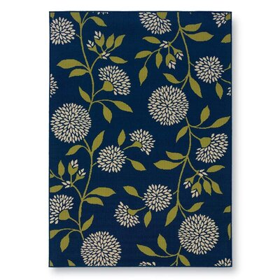 Floral Surry Rug Blue Indoor/Outdoor Area Rug Rug Size: 358 x 55