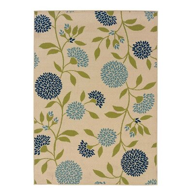 Floral Surry Rug Ivory Indoor/Outdoor Area Rug Rug Size: 358 x 55