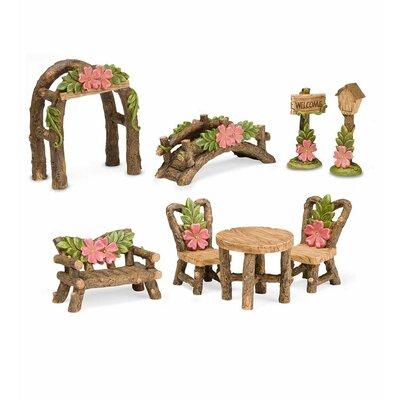 Miniature 8 Piece Fairy Garden Hibiscus Accessories Statue Set 57342