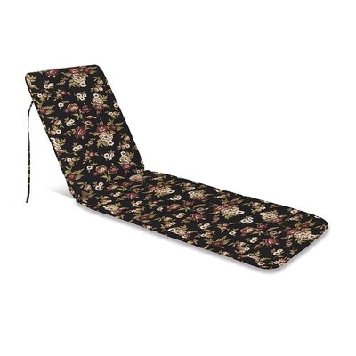 Outdoor Chaise Cushion Fabric: Black Floral