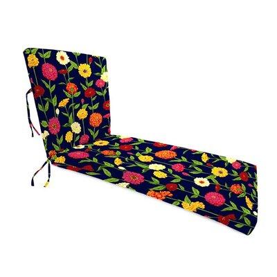 Outdoor Chaise Cushion Fabric: Navy Zinnia