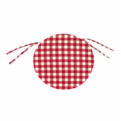 Outdoor Dining Chair Cushion Fabric: Red Gingham