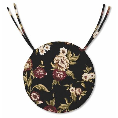 Outdoor Dining Chair Cushion Fabric: Black Floral