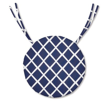 Outdoor Dining Chair Cushion Fabric: Navy Trellis