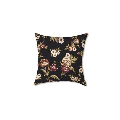 Polyester Classic Throw Pillow Fabric: Black Floral