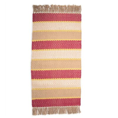Hand-Woven Beige Area Rug Rug Size: 5 x 6