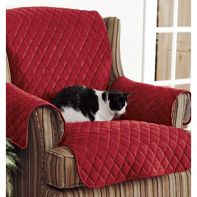 T-Cushion Sofa Slipcover Color: Red