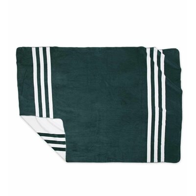 Signature Stripe Fleece Blanket Color: Green, Size: King