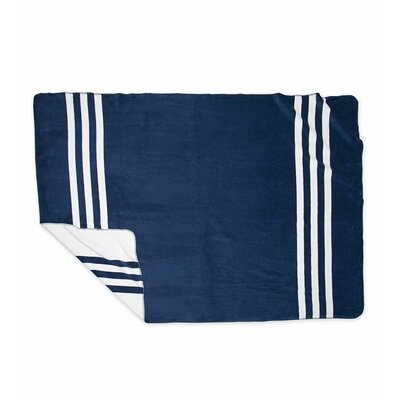Signature Stripe Fleece Blanket Color: Navy, Size: King