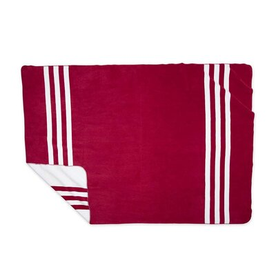 Signature Stripe Fleece Blanket Color: Red, Size: Full