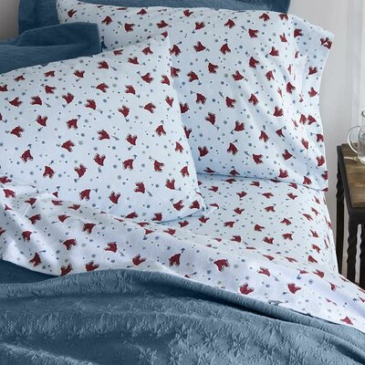 Ice Skates Flannel 100% Cotton 3 Piece Sheet Set