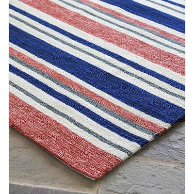 Coral Stripe Hand Hooked Red/Blue Indoor/Outdoor Area Rug Rug Size: Rectangle 35 x 55