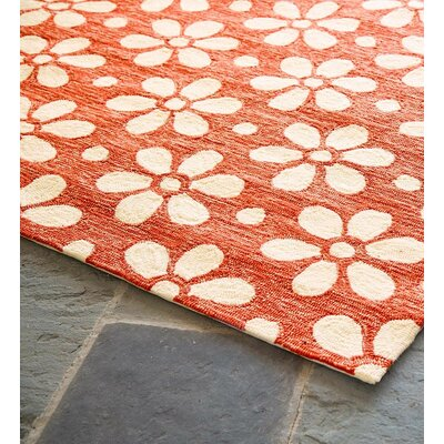 Daisy Chain Hand Hooked Orange/White Indoor/Outdoor Area Rug Rug Size: Rectangle 2 x 35