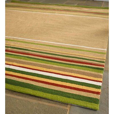 Lake House Stripe Hand Hooked Yellow/Green Indoor/Outdoor Area Rug Rug Size: Rectangle 5 x 8