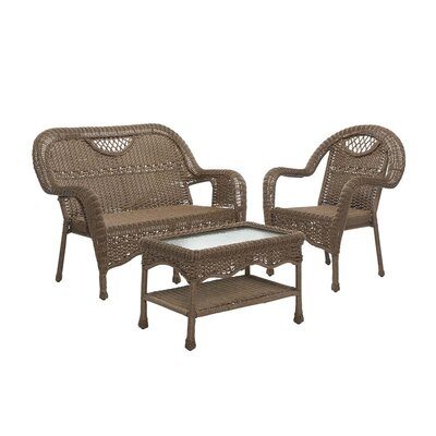 Prospect Hill Outdoor Wicker 3 Piece Bench Seating Group Finish: Beach House Walnut
