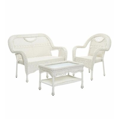 Prospect Hill Outdoor Wicker 3 Piece Bench Seating Group Finish: Cloud White