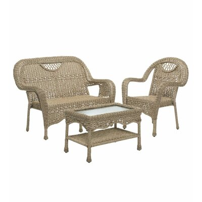 Prospect Hill Outdoor Wicker 3 Piece Bench Seating Group Finish: Driftwood