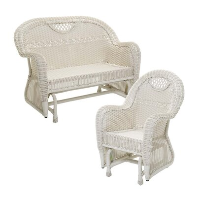 Prospect Hill Outdoor Wicker 2 Piece Glider Seating Group Finish: Cloud White
