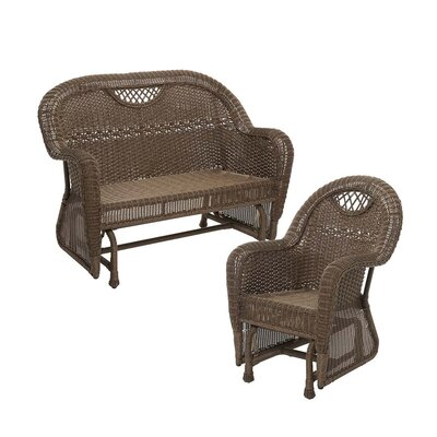 Prospect Hill Outdoor Wicker 2 Piece Glider Seating Group Finish: Beach House Walnut
